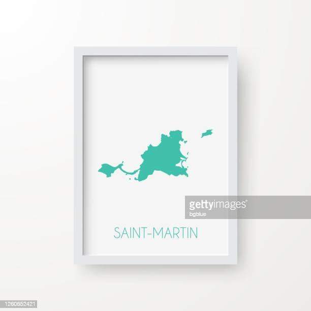 白い背景のフレームのサン・マルタン地図 - フランス海外領点のイラスト素材/クリップアート素材/マンガ素材/アイコン素材