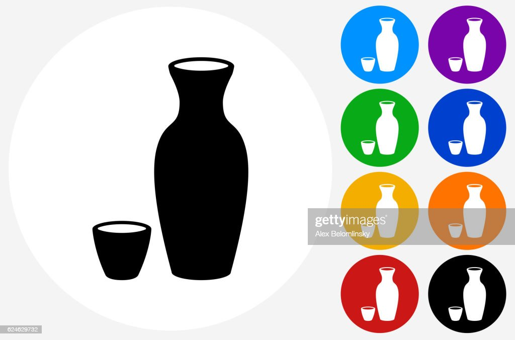 Sake Drink Icon on Flat Color Circle Buttons