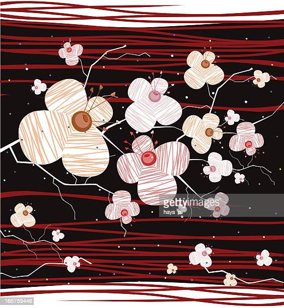 sakura blooming, breath of japanese night - only japanese stock illustrations, clip art, cartoons, & icons