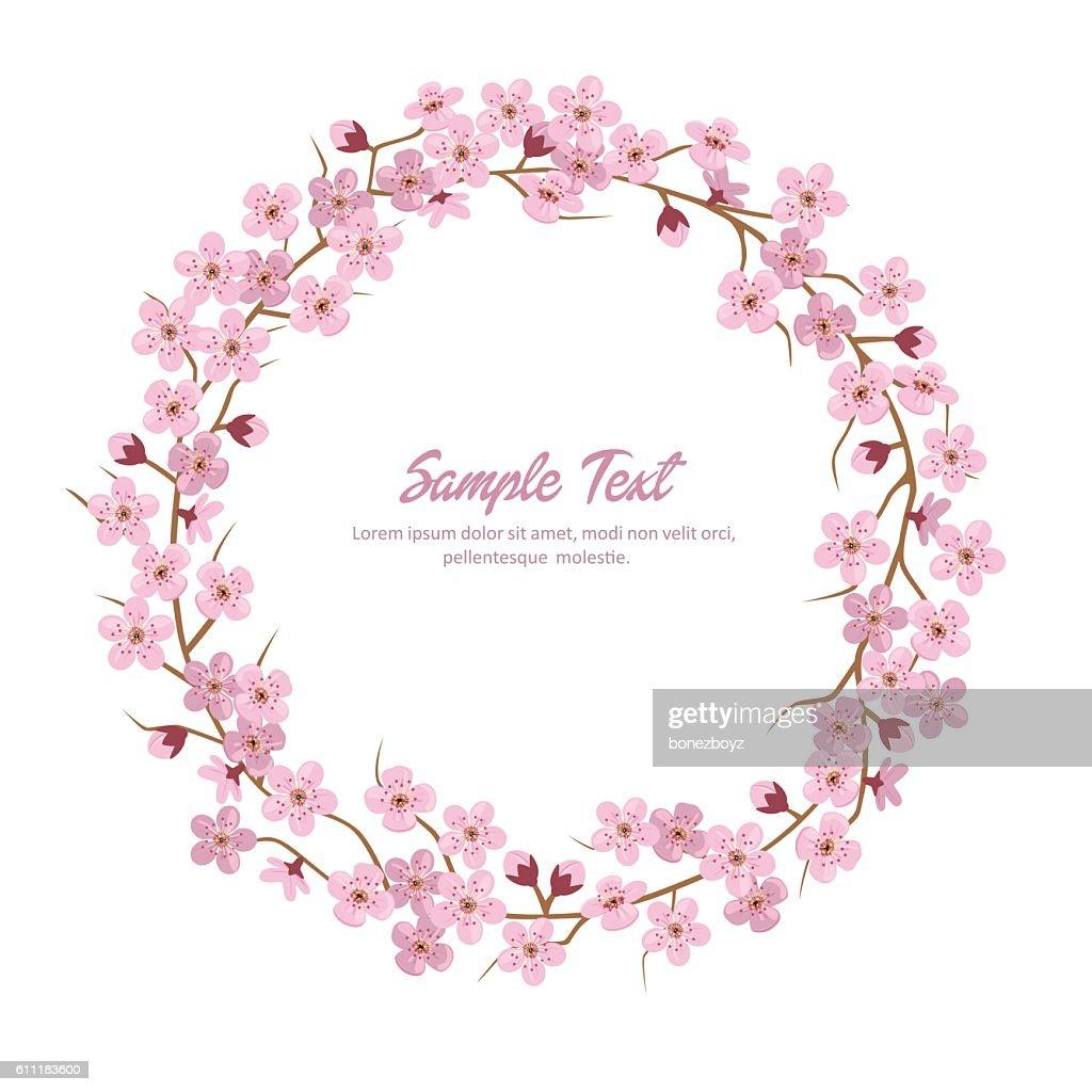 Sakura Flower Wreath. Sakura Round Frame.