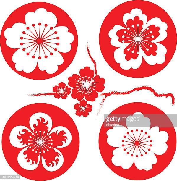 sakura flowers - cherry blossom stock illustrations, clip art, cartoons, & icons