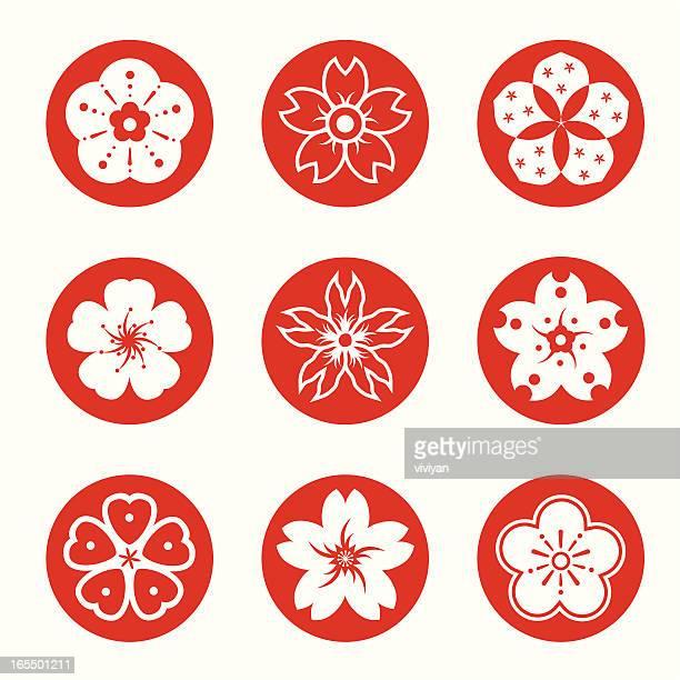 sakura graphic elements - cherry blossom stock illustrations, clip art, cartoons, & icons