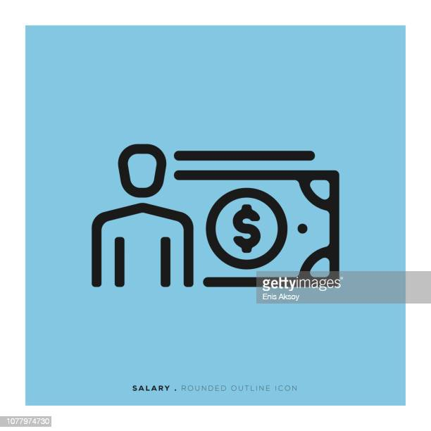 salary rounded line icon - paycheck stock illustrations, clip art, cartoons, & icons