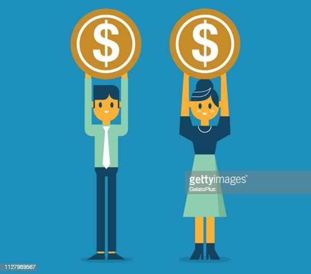 ilustraciones, imágenes clip art, dibujos animados e iconos de stock de variación de salario - empresario y empresaria - charity benefit