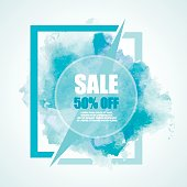 Sale -50% discount vector banner with watercolor colorful splashes.  Blue color.