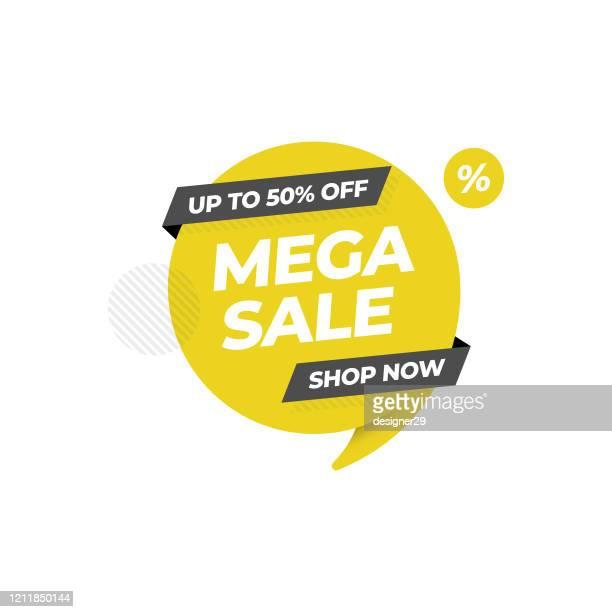 ilustrações de stock, clip art, desenhos animados e ícones de sale 50% off tag and banner template vector design on white background. - dar cartas
