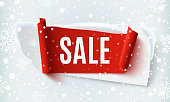 Sale, abstract banner on winter background.