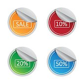 sale and percentage sticker label set