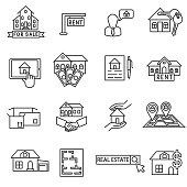 Sale and purchase property icons set