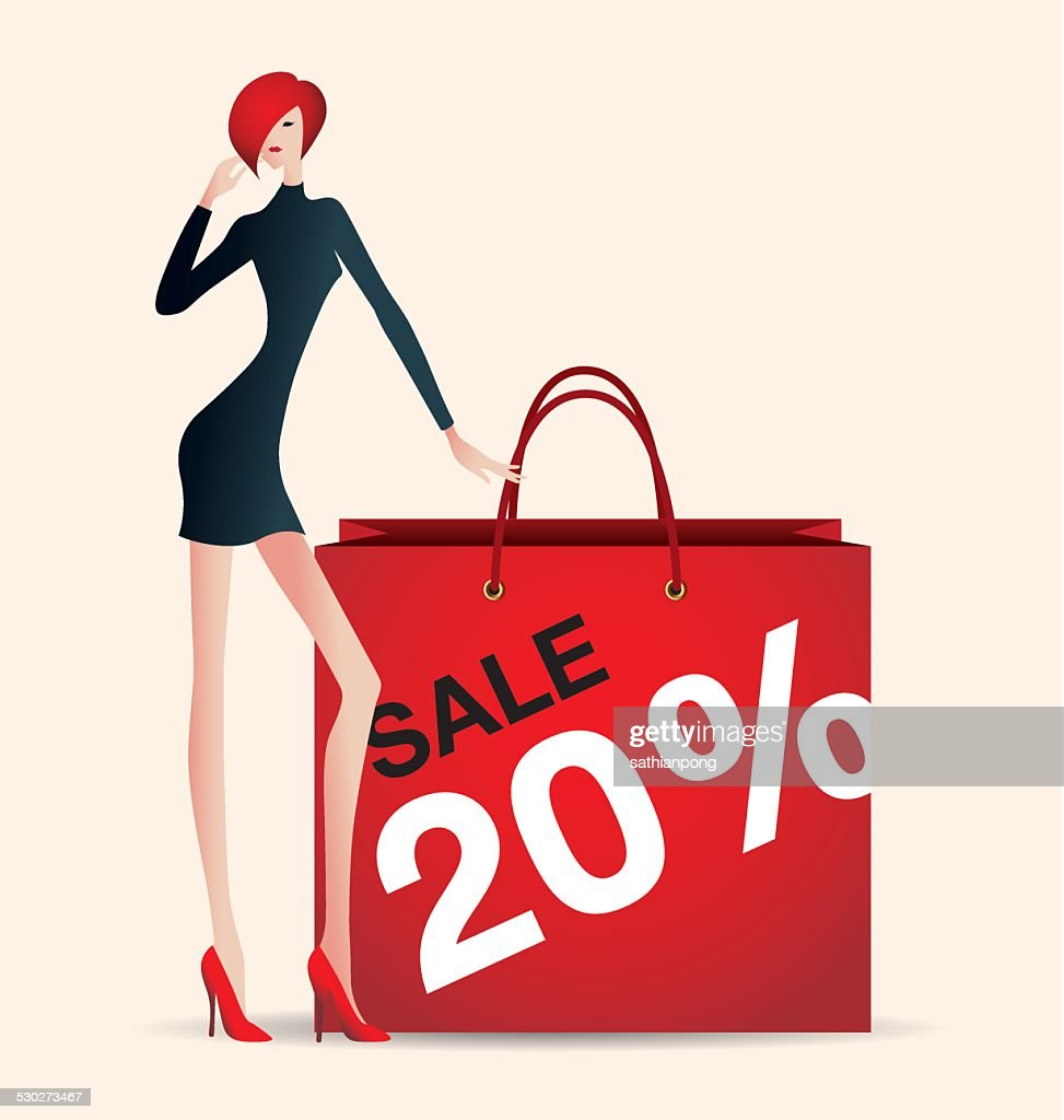 sale and woman shopping, vector, fashion, discount, stylist