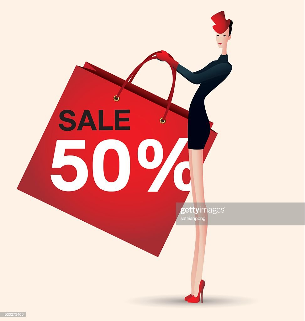 sale and woman shopping, vector, fashion, discount,red