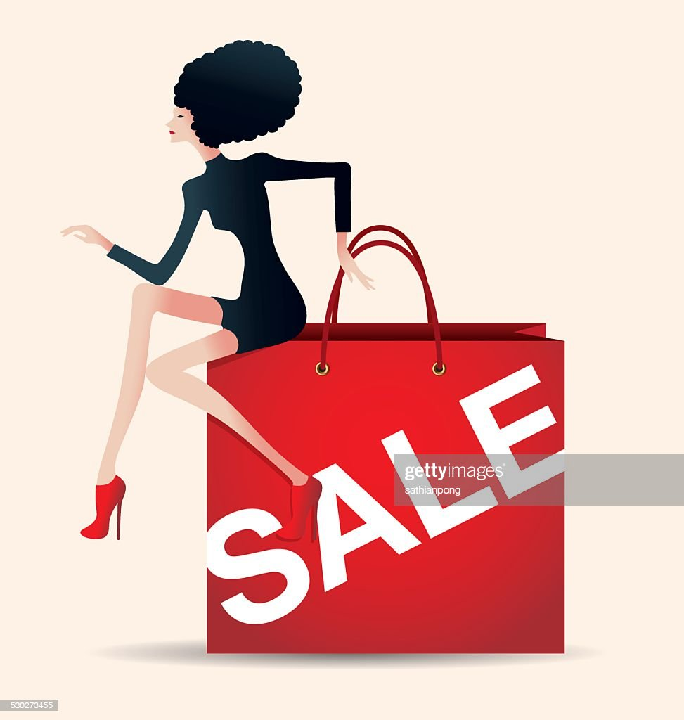 sale and woman shopping, vector, fashion, shopping bag
