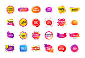 Sale banner badge. Special offer discount tags. Coupon shape templates. Best offer badge. Super discount icons. Vector