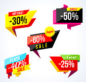 Sale banner collection. Colored stickers and banners. Geometric shapes and confetti. Big set of beautiful discount and promotion banners. Advertising element. Sale banner tag. Vector illustration