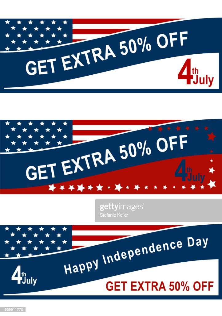 Sale banner for the 4th of July with American flag.