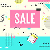 Sale banner retro style with geometric shpaes. Sale background pastel color create by vector.