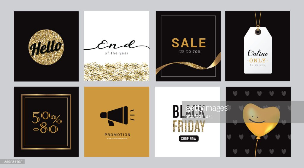 Sale banner template design, E-commerce shopping online promotion marketing with black and gold background color, vector illustration