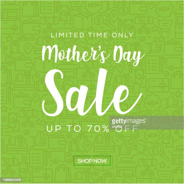 sale banner template design, mother's day sale. vector illustration - mothers day text art stock illustrations