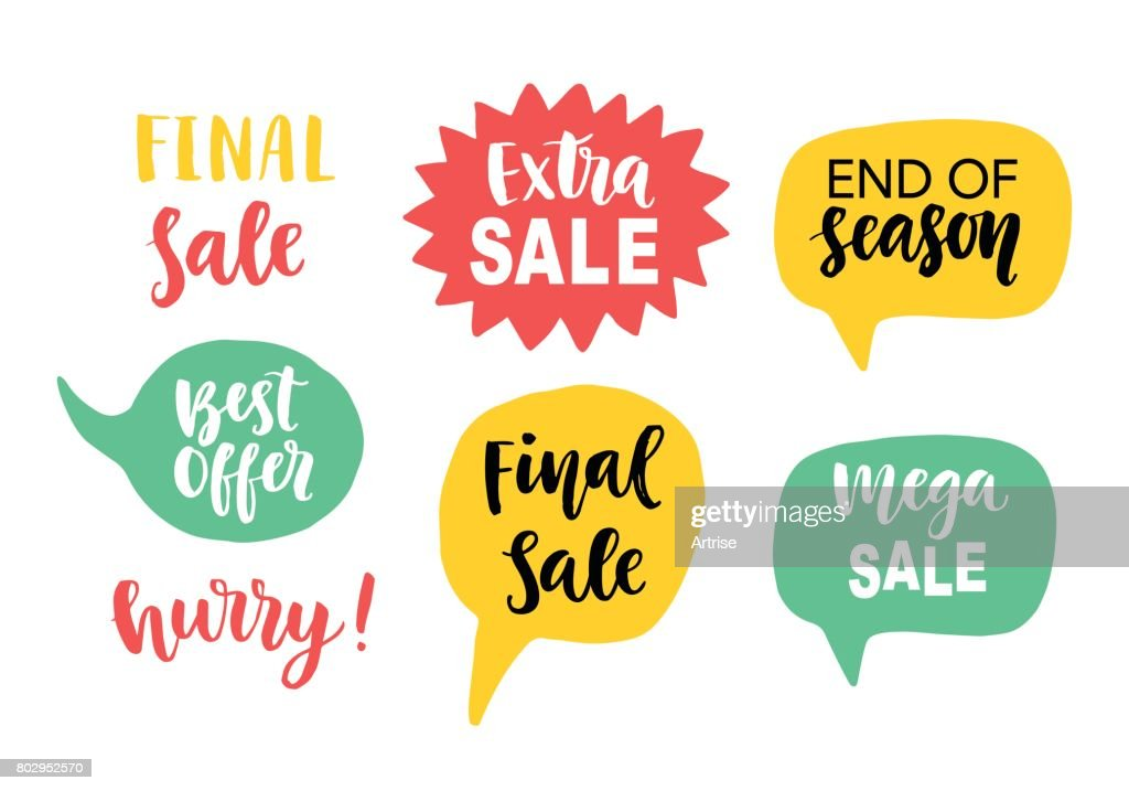 Sale Banner Template elements with hand lettering in speech bubbles