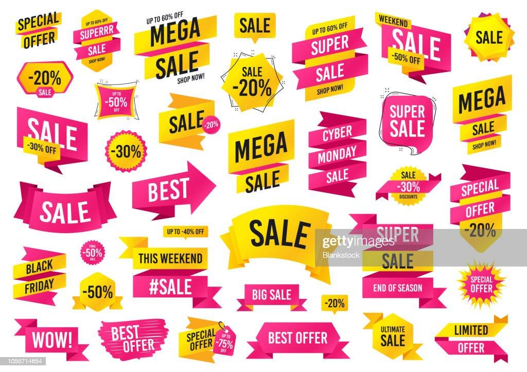 Sale banner templates design. Mega sale special offer. Vector