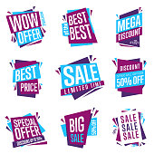 Sale banner vector isolated set