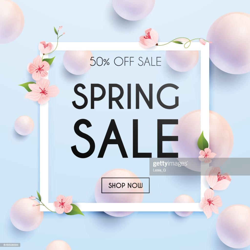Sale Banner with flowers, Poster, Flyer. Vector illustration.