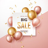Sale banner with pink and gold floating balloons