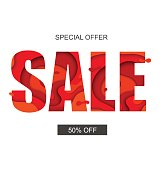 Sale banner with special offer, vector.