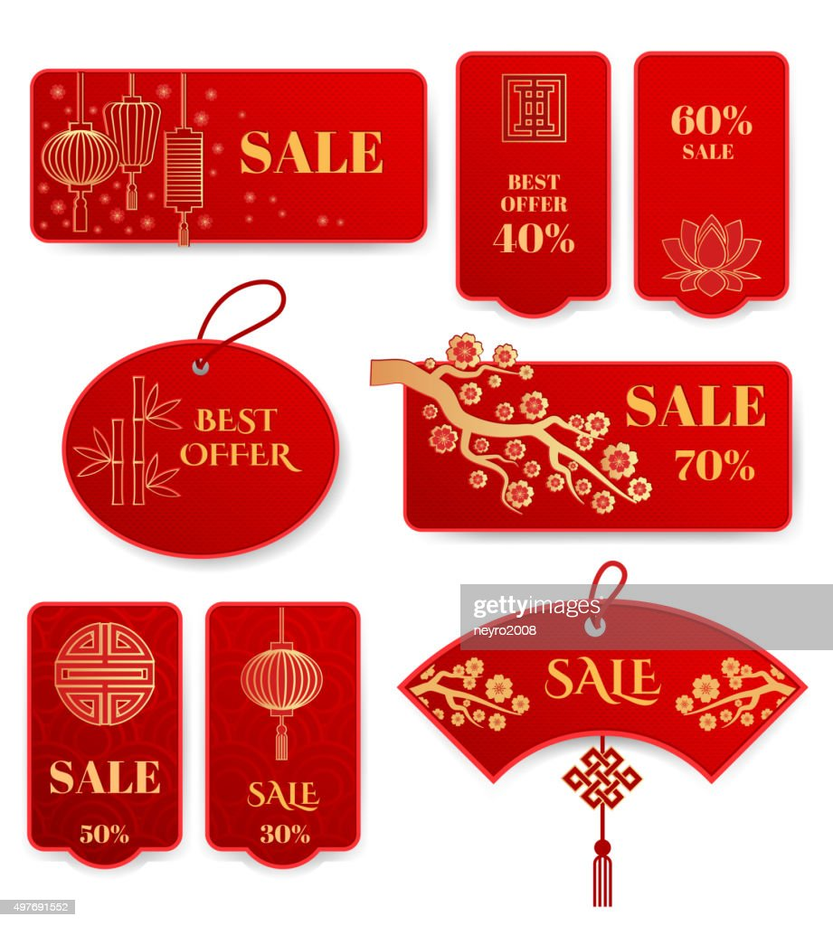 Sale banners and badges for Chinese new year vector set