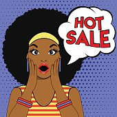 Sale bubble pop art surprised afro woman face.