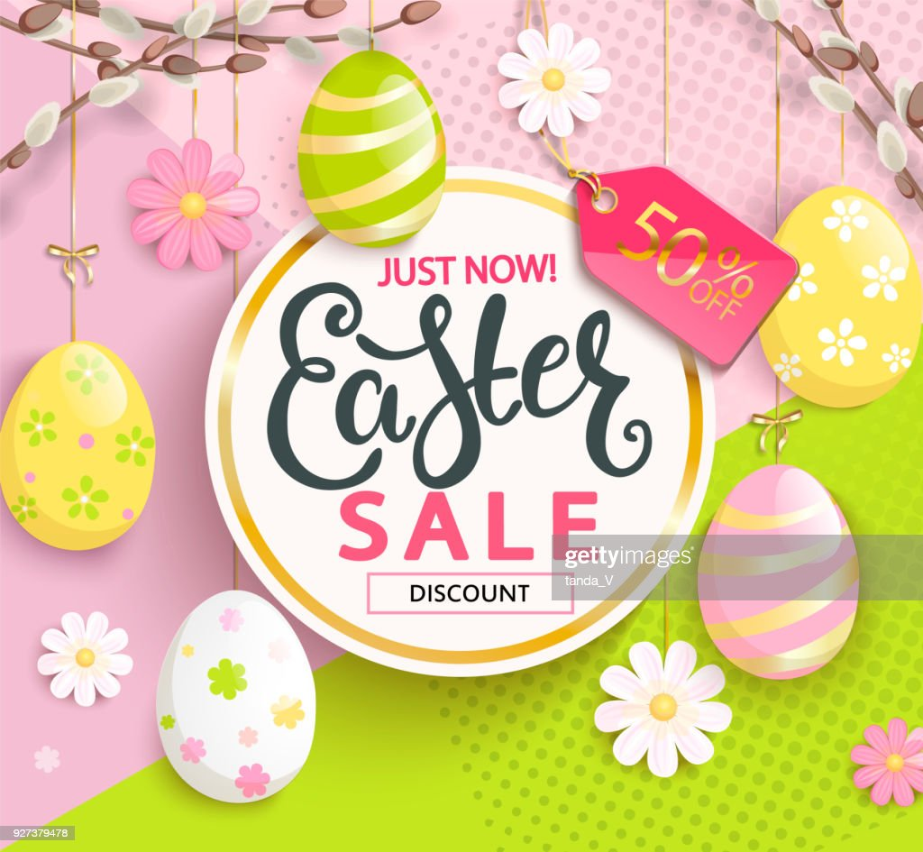 Sale card for Happy Easter.