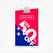 50% OFF Sale Discount Banner. Discount Promotion Campaign Price Tag. Special Offer Sale Modern Label. Vector Ad Promo Sticker Illustration. Price Tag Shape Design Sticker.