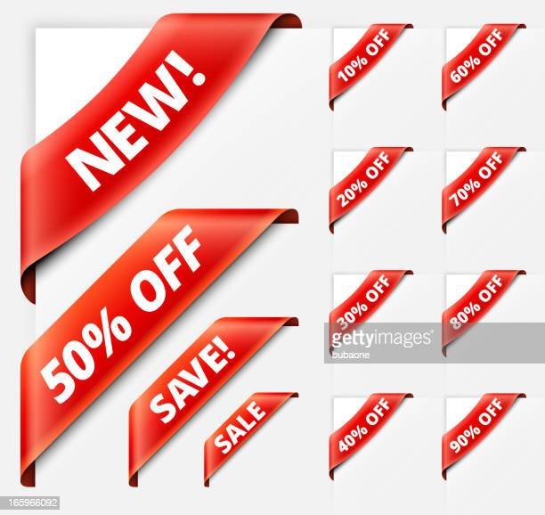Sale Discount Sign red vector ribbons set