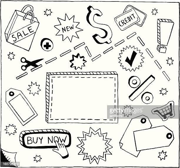sale und kritzeleien - preisschild stock-grafiken, -clipart, -cartoons und -symbole