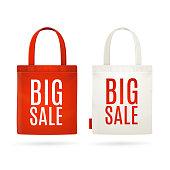 Sale Eco Bag Set. Vector