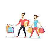 Sale. Family shopping. Characters. Flat design vector illustration.