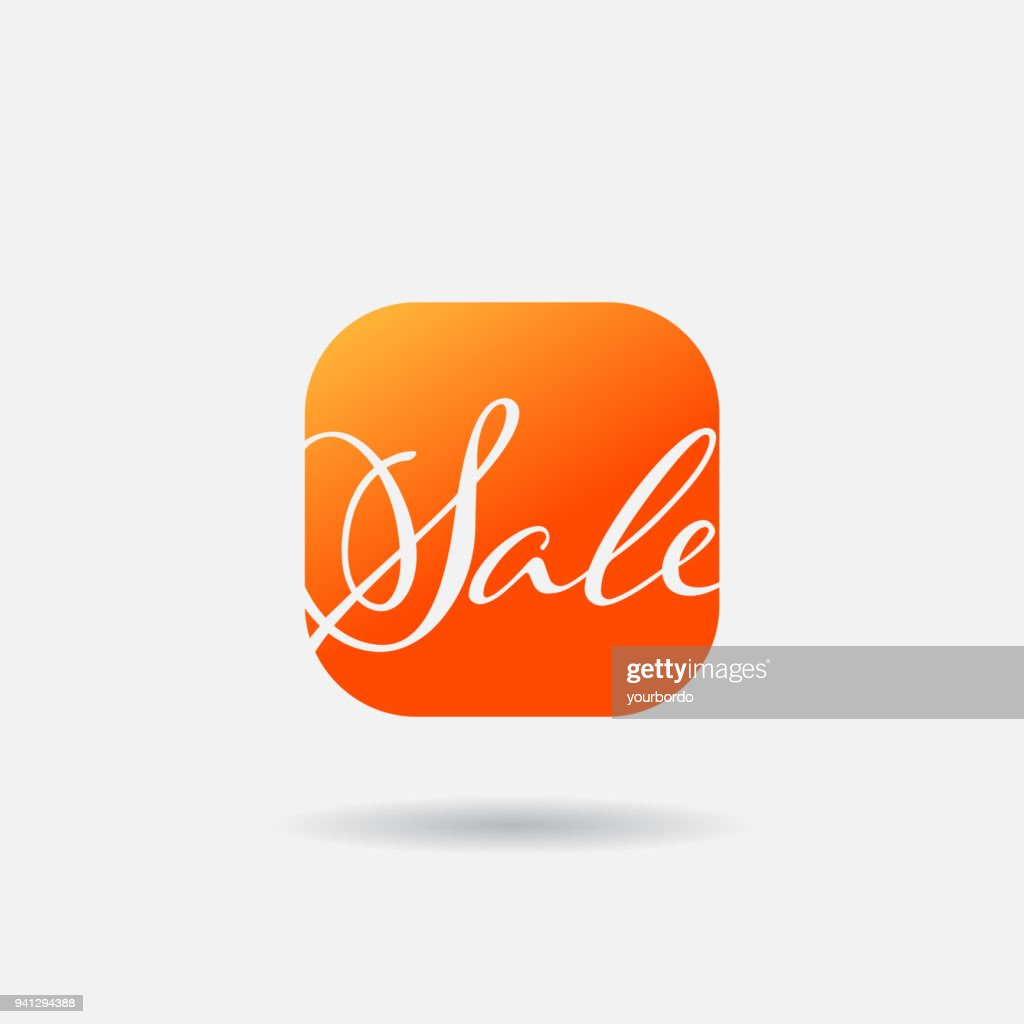 Sale Flat Icon. Word Sale Calligraphy Font. Mobile App Vector Icon. Sale Web or mobile application vector flat button
