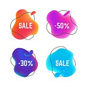 Sale fluid banners. Organic abstract round title bubble, discount sticker liquid design, sale business promo. Vector liquid banners