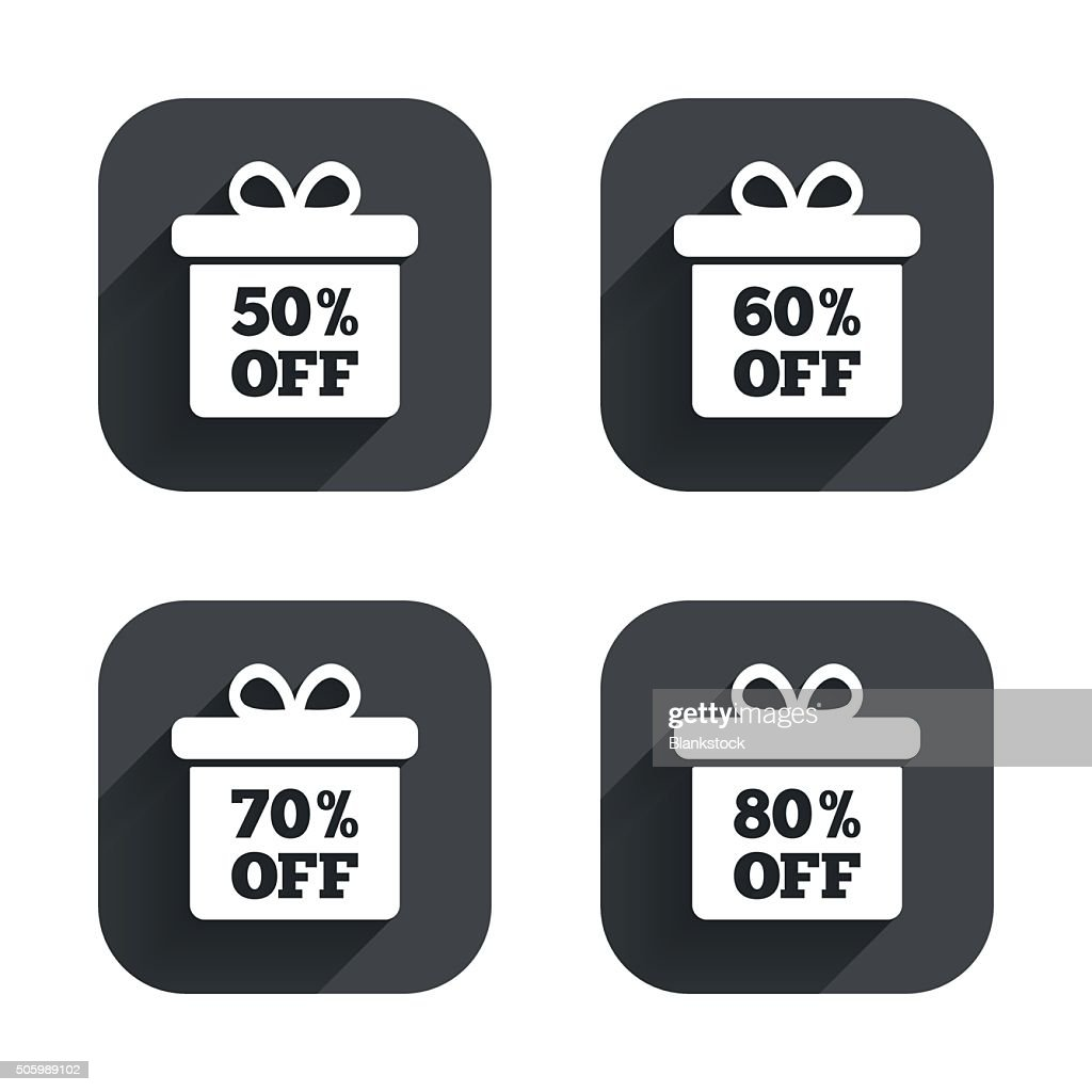 Sale Gift Box Tag Icons Discount Symbols Vector Art | Getty Images