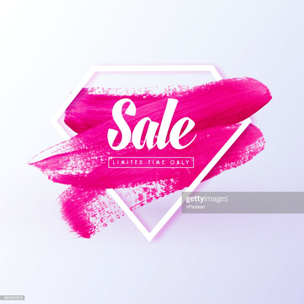 Sale girly banner vector paint brush texture in frame
