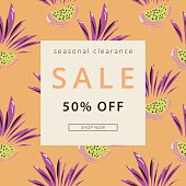 Sale header in tropical style.