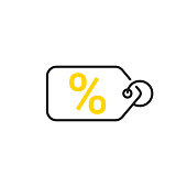 Sale icon. Price tag with a percent sign. Vector