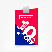 10% OFF Sale Label Price Tag. Discount Sticker. Sale Special Offer Price Tag Isolated Vector Illustration. Discount Offer Price Label, Vector Sticker Badge Design Template.