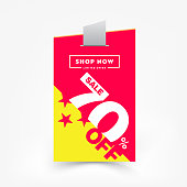 70% OFF Sale Label Price Tag. Discount Sticker. Sale Special Offer Price Tag Isolated Vector Illustration. Discount Offer Price Label, Vector Sticker Badge Design Template.