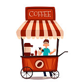 Sale of coffee outdoors