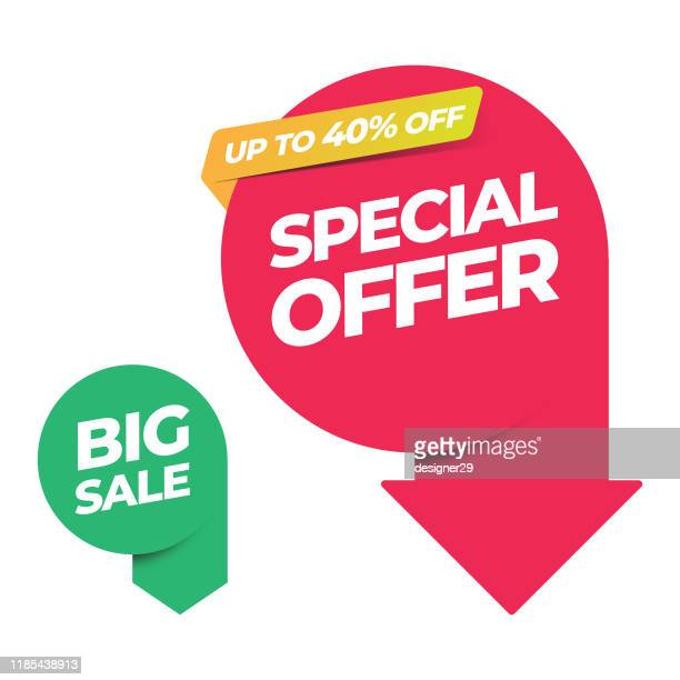 sale of special offers and discount arrow banner template vector design. - equipment stock illustrations