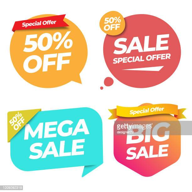 sale of special offers and discount gradient label banner template vector design on white background. - price tag stock illustrations