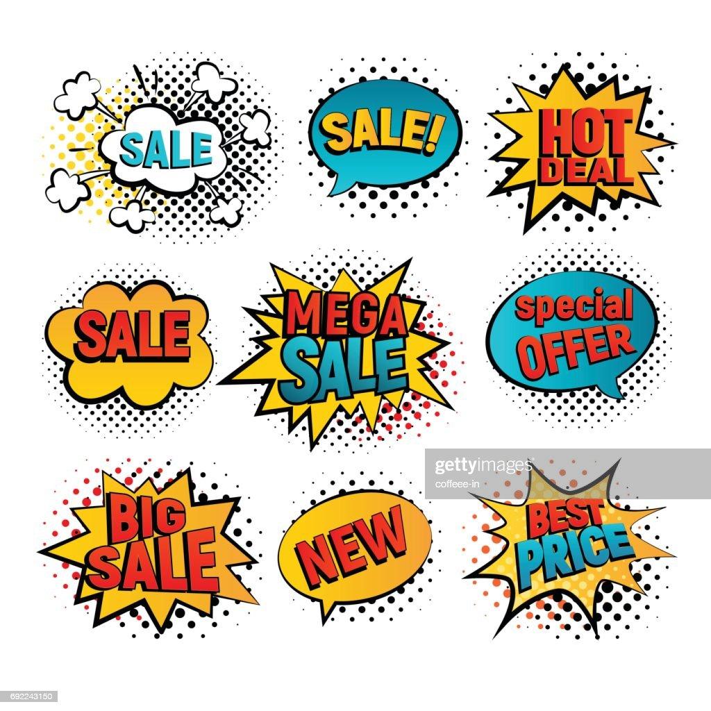 Sale pop art vector set