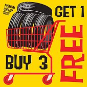 Sale poster with tires in shopping chart and text Buy 3 get 1 Free