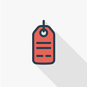 sale, price tag thin line flat color icon. Linear vector symbol. Colorful long shadow design.
